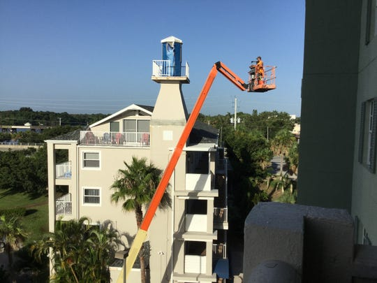 Repair to damages caused by Hurricane Irma in September 2017 continue 11 months later at Melbourne Harbour Condominiums.