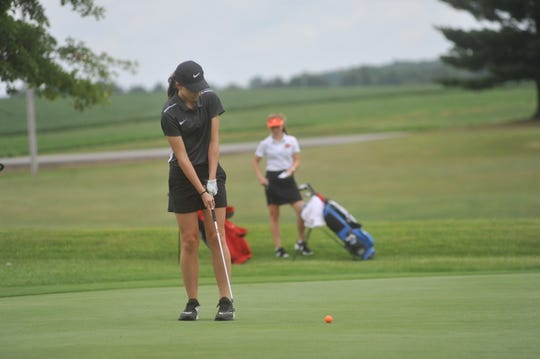 Wynford's Caity Schiefer putts on the 9th green at Cranberry Hills.