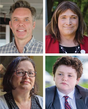 Candidates running in the 2018 Democratic gubernatorial primary are, clockwise from top left: James Ehlers, Christine Hallquist, Brenda Siegel, and Ethan Sonneborn.