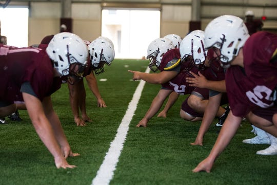 Calallen prepares for the upcoming football season during practice on Wednesday , August 8, 2018 at Calallen High School.