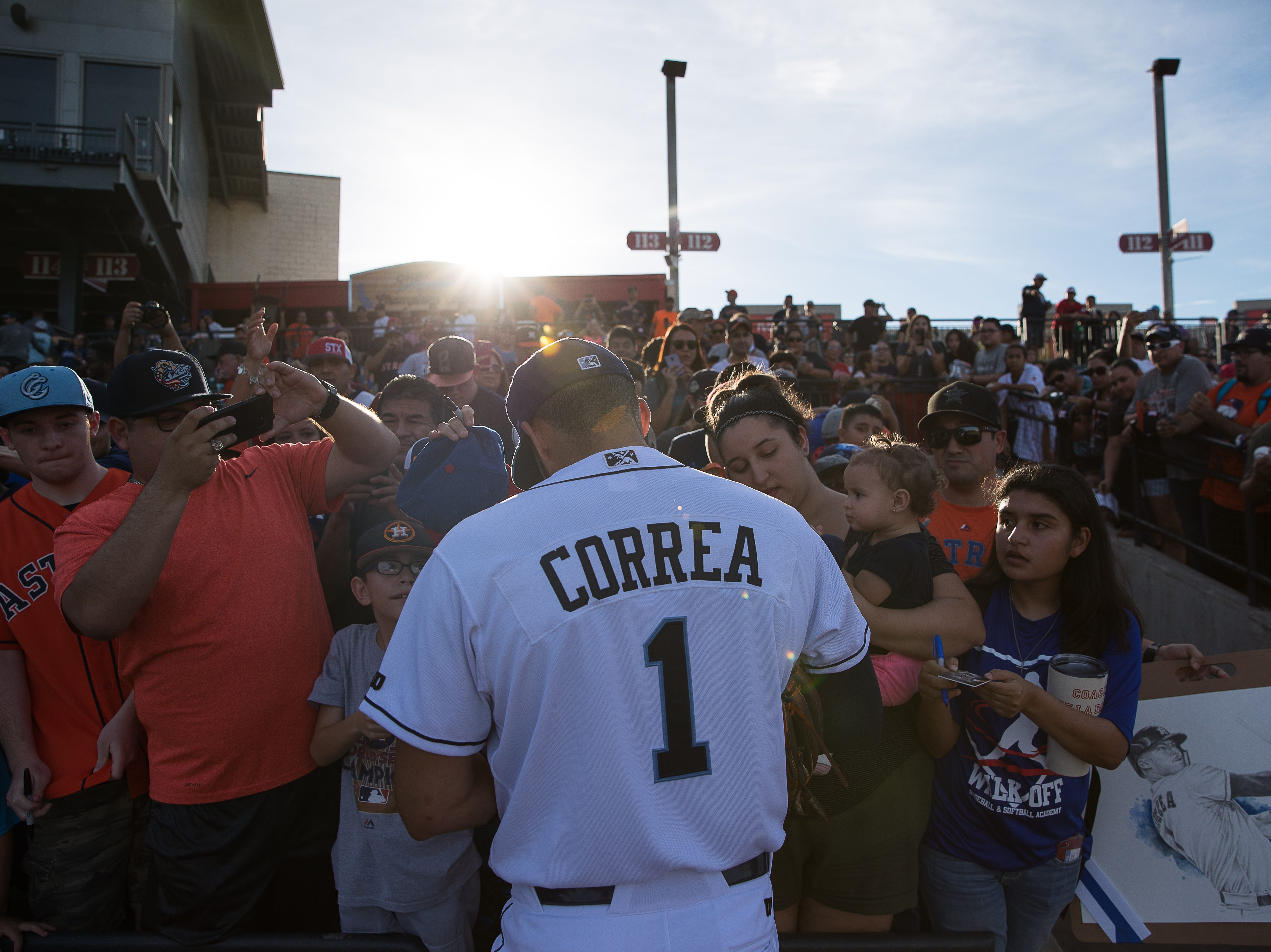Carlos Correa signs autographs before the Corpus Christi Hooks' game against the Tulsa Drillers at Whataburger Field on Tuesday, Aug. 7, 2018. Correa, from the Houston Astros, is currently playing for the Hooks on rehab assignment.