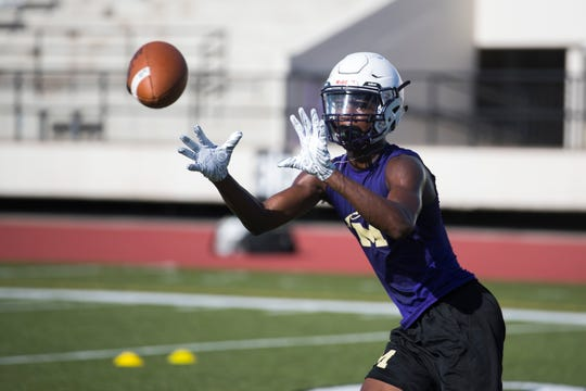 Miller's Bubba Lloyd watch the ball during practice on Tuesday, August 7, 2018 at Buccaneer Stadium.