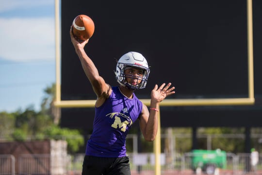 Miller's Andrew Body throws the ball during quarterback drills on Tuesday, August 7, 2018 at Buccaneer Stadium.
