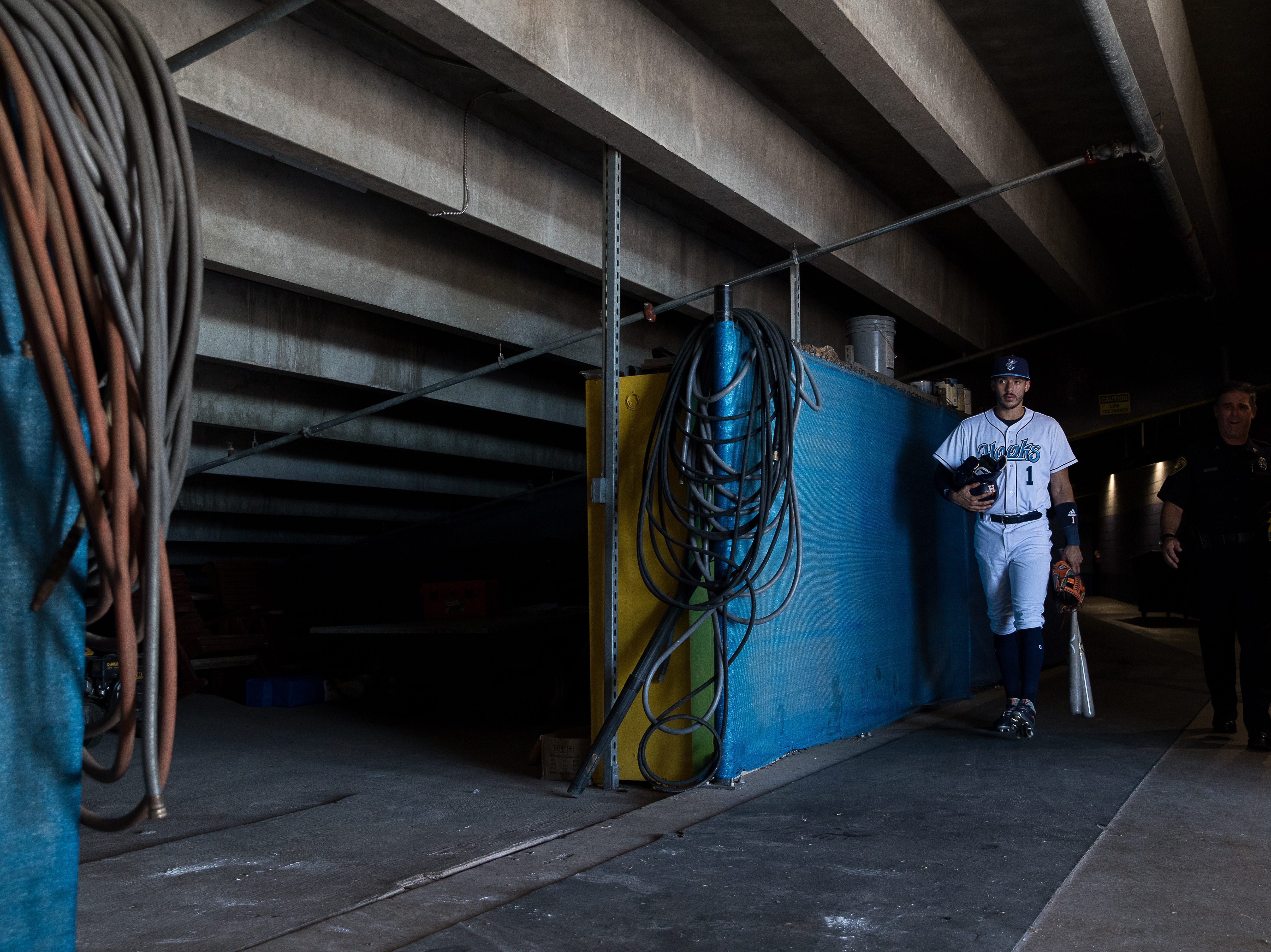 Carlos Correa, from the Houston Astros, walks out of the home team tunnel at Whataburger Field before a Hooks game where he will be playing on a rehab assignment on Tuesday, Aug. 7, 2018.