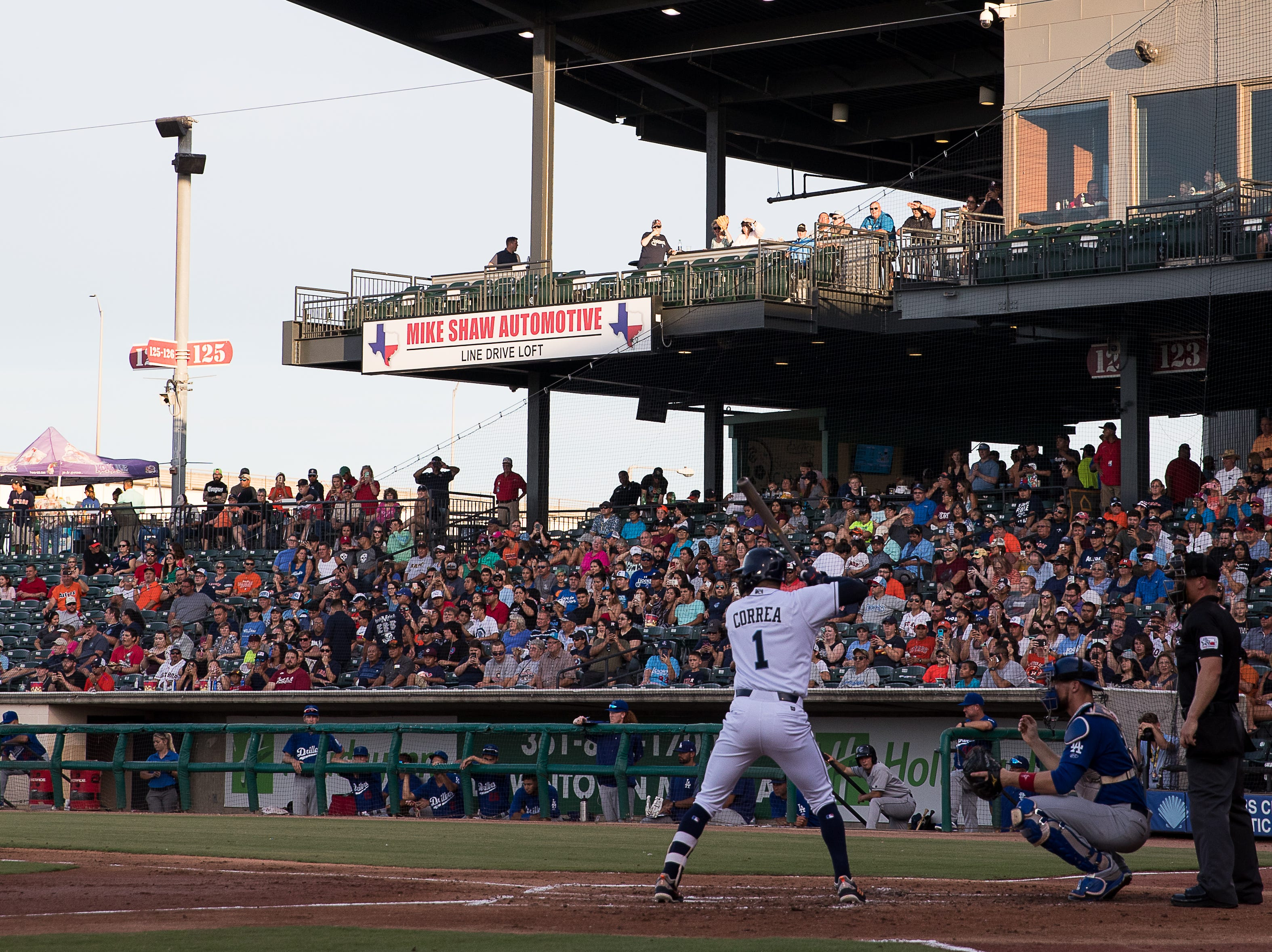 Carlos Correa, from the Houston Astros, at bat during the Hooks' game against the Tulsa Drillers at Whataburger Field on Tuesday, Aug. 7, 2018.  Correa is currently playing for the Hooks on rehab assignment.