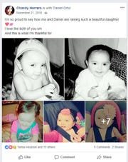 A screenshot of a Facebook post by Chasity Herrera shows photos of her daughter Arabella Sanchez who died in December 2017.