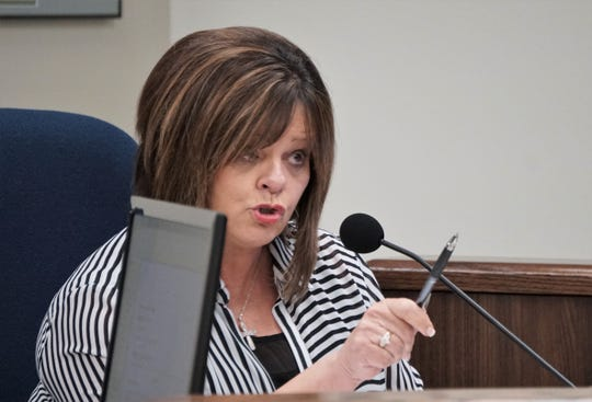 Pct. 1 Nueces County Commissioner Carolyn Vaughn reacts to comments made by members of the Corpus Christi Immigration Coalition during an Aug. 8, 2018 commissioners court meeting. Commissioners received a presentation on the county's involvement in the federal 287(g) program at the meeting.