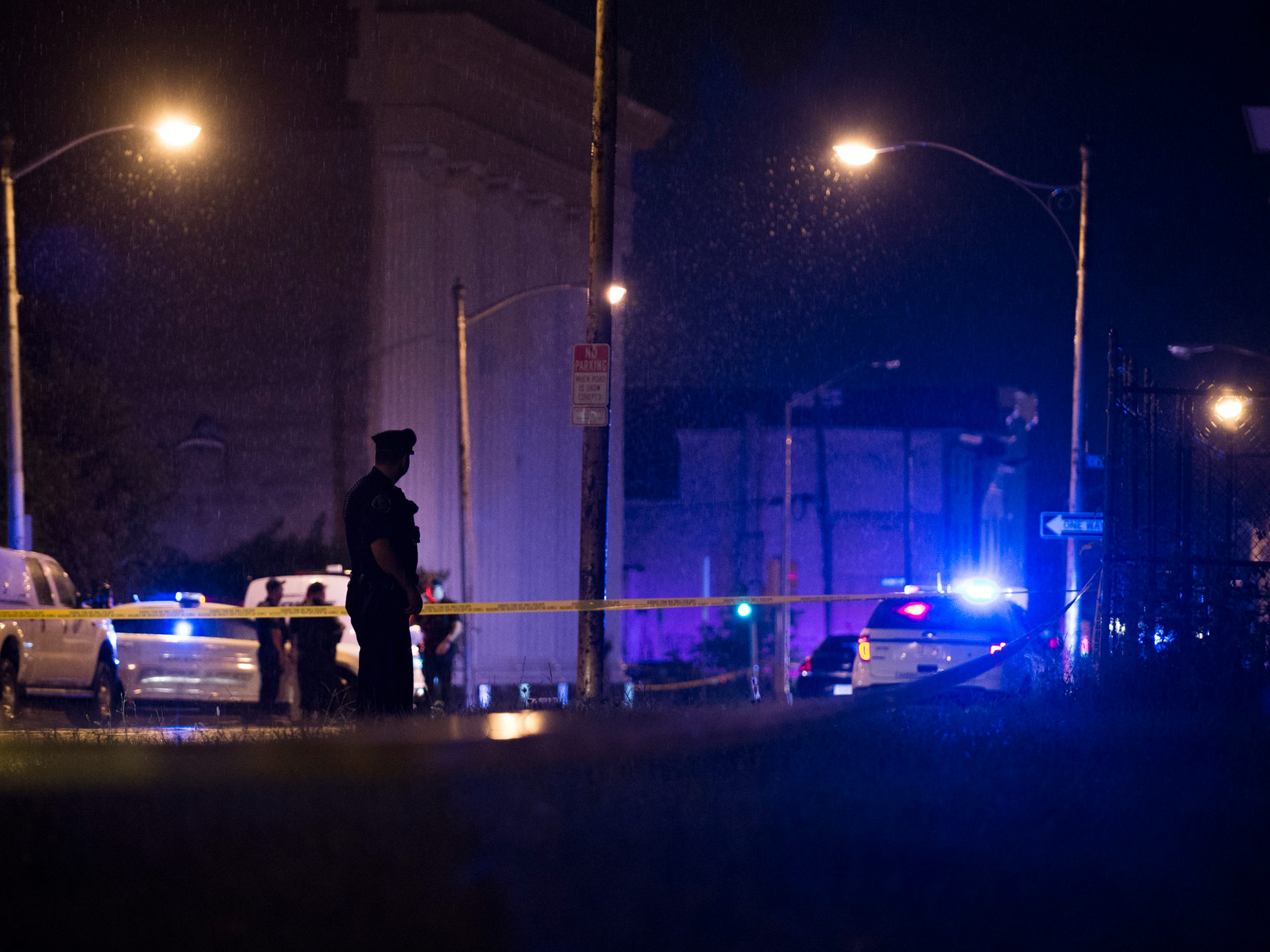 Police respond after two officers were shot Tuesday evening near Broadway and Mount Vernon Street in Camden.