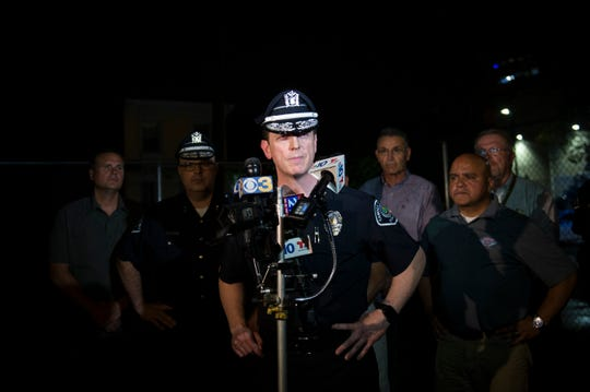 Camden County Police Chief Scott Thomson speaks during a press conference regarding two detectives who were shot Tuesday evening, Aug. 7, 2018 in Camden, N.J.