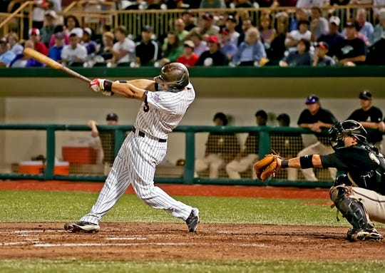 Lake Erie Crushers' Andrew Davis hits a game winning grand slam in game four of the 2009 championship series against the River City Rascal.