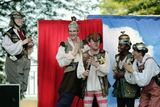 """The Mechanicals, from left, Tess Talbot, Douglas Fries, Josh Katawick, Tia LeShaun Davis and Kyle Brumley, as seen in Cincinnati Shakespeare Company's 2015 Shakespeare in the Park production of """"A Midsummer Night's Dream."""""""