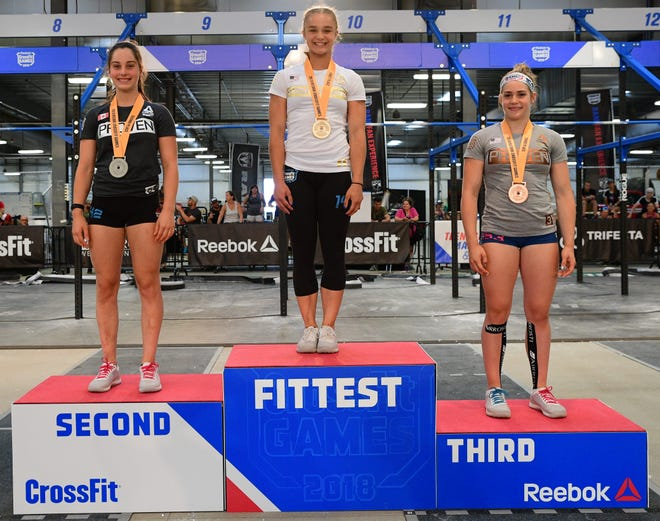 Lea Malo, Olivia Sulek and Paige Powers on the podium of the Crossfit Games