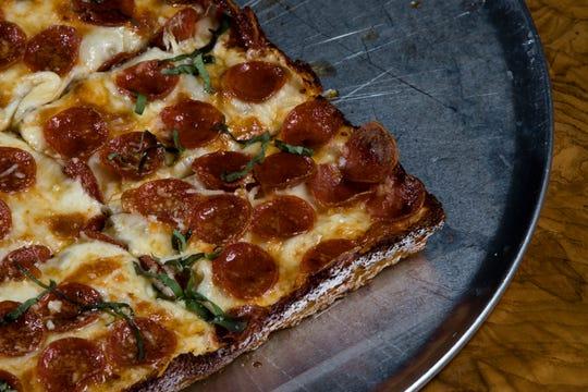 Pepperoni + Hot Honey pizza at Taglio Pizza in Cincinnati.