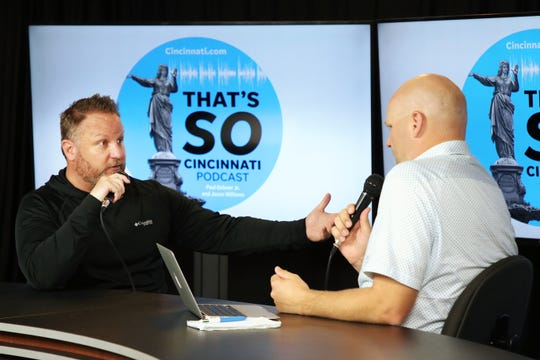 Enquirer political columnist Jason Williams, left, and Bengals columnist Paul Dehner Jr. are launching the podcast That's So Cincinnati, a discussion making complicated current events in the city easy to understand.