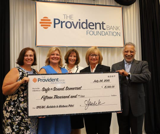 Pictured are Kristin Cantwell, director of Development & Communications of Safe+Sound Somerset; Michele Boronkas, executive director of Safe+Sound Somerset; Jane Kurek, executive director of The Provident Bank Foundation; Karen McMullen of The Provident Bank Foundation's Board of Directors; and Dr. Carlos Hernandez, chairman of The Provident Bank Foundation's Board of Directors.