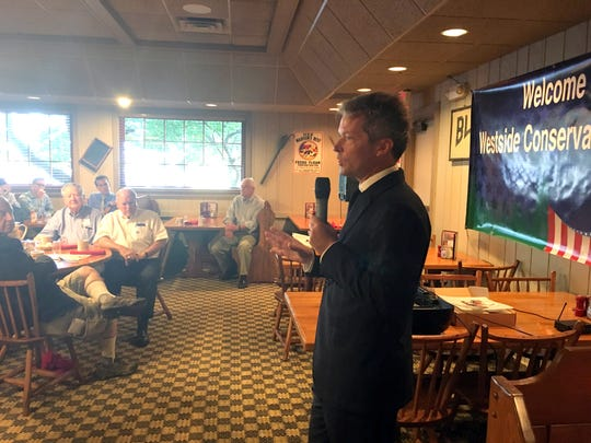 Eric Branstad, who directed President Donald Trump's Iowa campaign in the 2016 election, speaks Wednesday, Aug. 8, 2018, at the Westside Conservative Club at the Machine Shed restaurant in Urbandale, Iowa