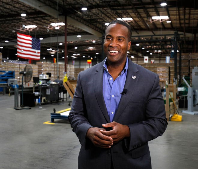 John James, Michigan GOP Senate candidate, does an interview with a news media outlet before holding an election night event at his business, James Group International, August 7, 2018 in Detroit.