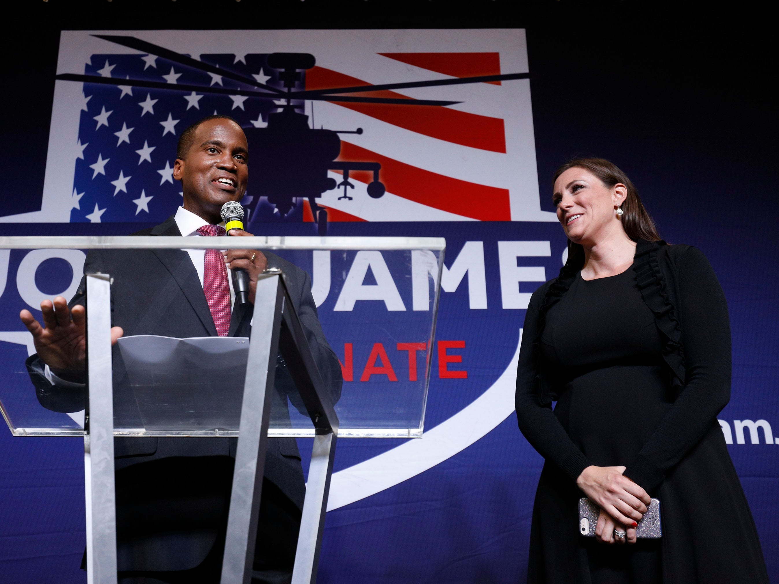 John James, Michigan GOP Senate candidate, celebrates with his wife Elizabeth at an election night event after winning his primary election at his business, James Group International  August 7, 2018 in Detroit, Michigan. James, who has President Donald Trump's endorsement, will face Democrat incumbent Senator Debbie Stabenow (D-MI) in November.