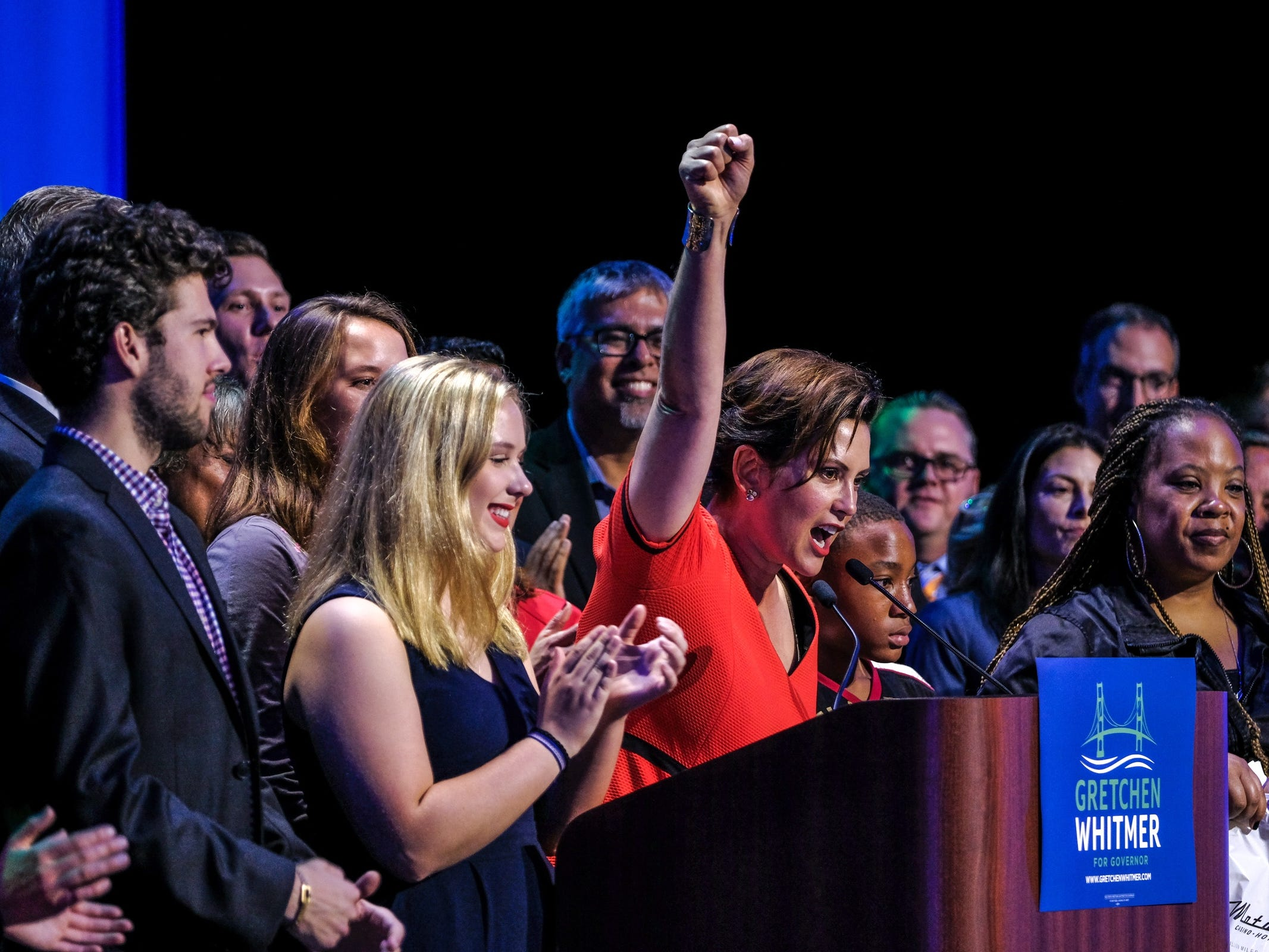 Democratic gubernatorial candidate Gretchen Whitmer speaks to supporters after winning Michigan's primary race on Tuesday, August 7, 2018 during the election night party at the MotorCity Casino in Detroit.