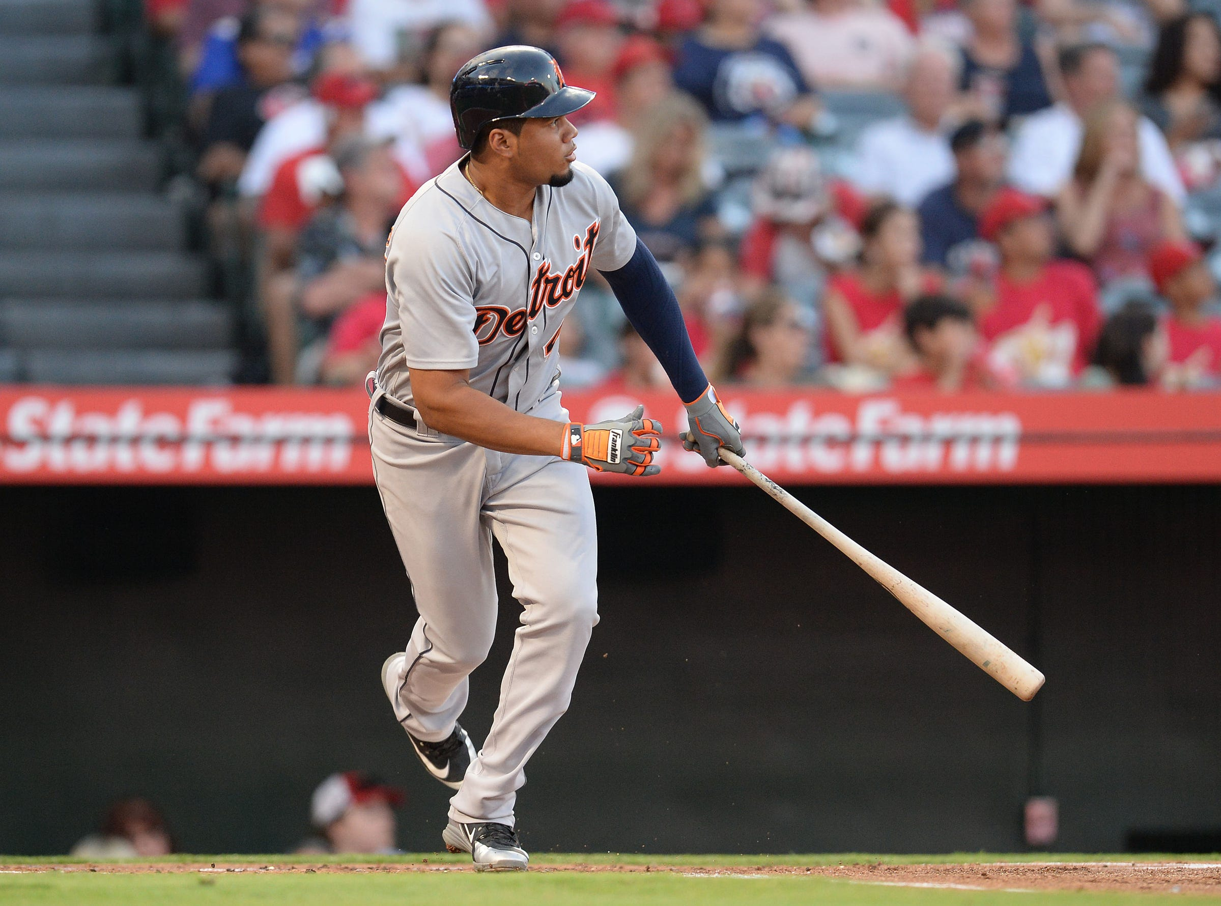 Tigers third baseman Jeimer Candelario hits an RBI ground rule double in the first inning on Tuesday, Aug. 7, 2018, in Anaheim, Calif.