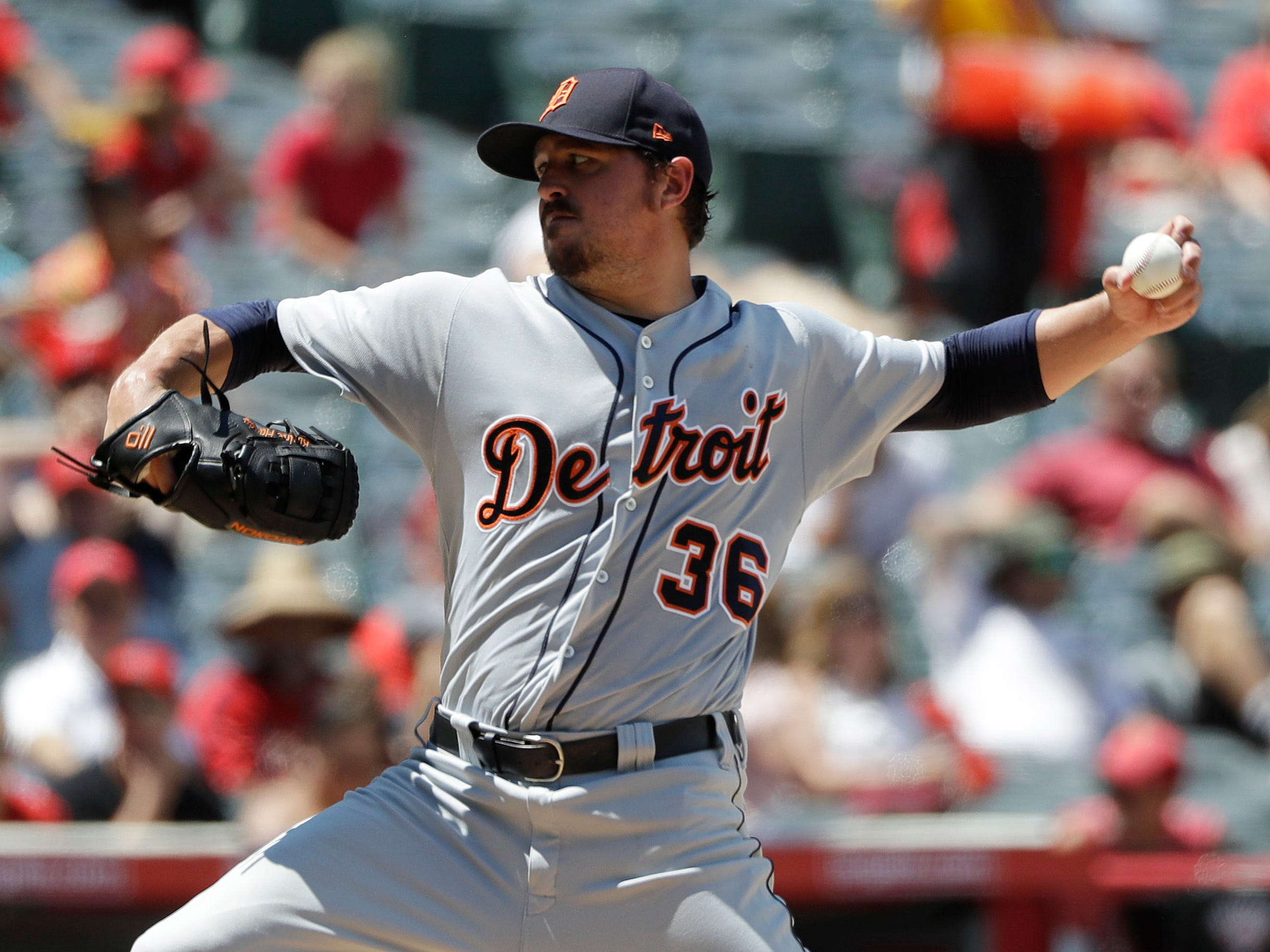Detroit Tigers pitcher Blaine Hardy throws to the Los Angeles Angels during the second inning of a baseball game Wednesday, Aug. 8, 2018, in Anaheim, Calif.