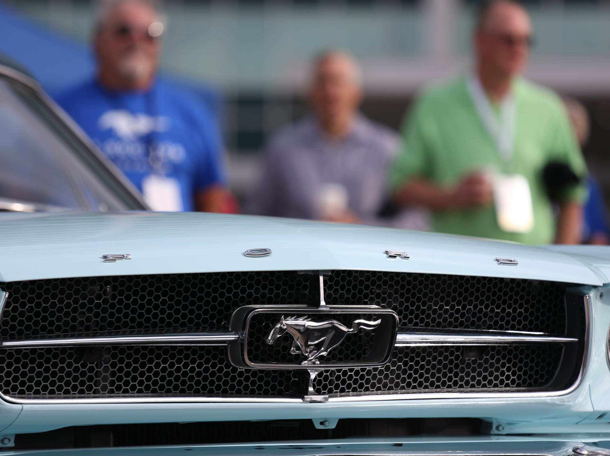The original grill on Gail Wise's 1964 Ford Mustang seen during a Ford event celebrating the 10,000,000 Mustang built at the Ford Motor Company World Headquarters in Dearborn on Wed., Aug 8, 2018.