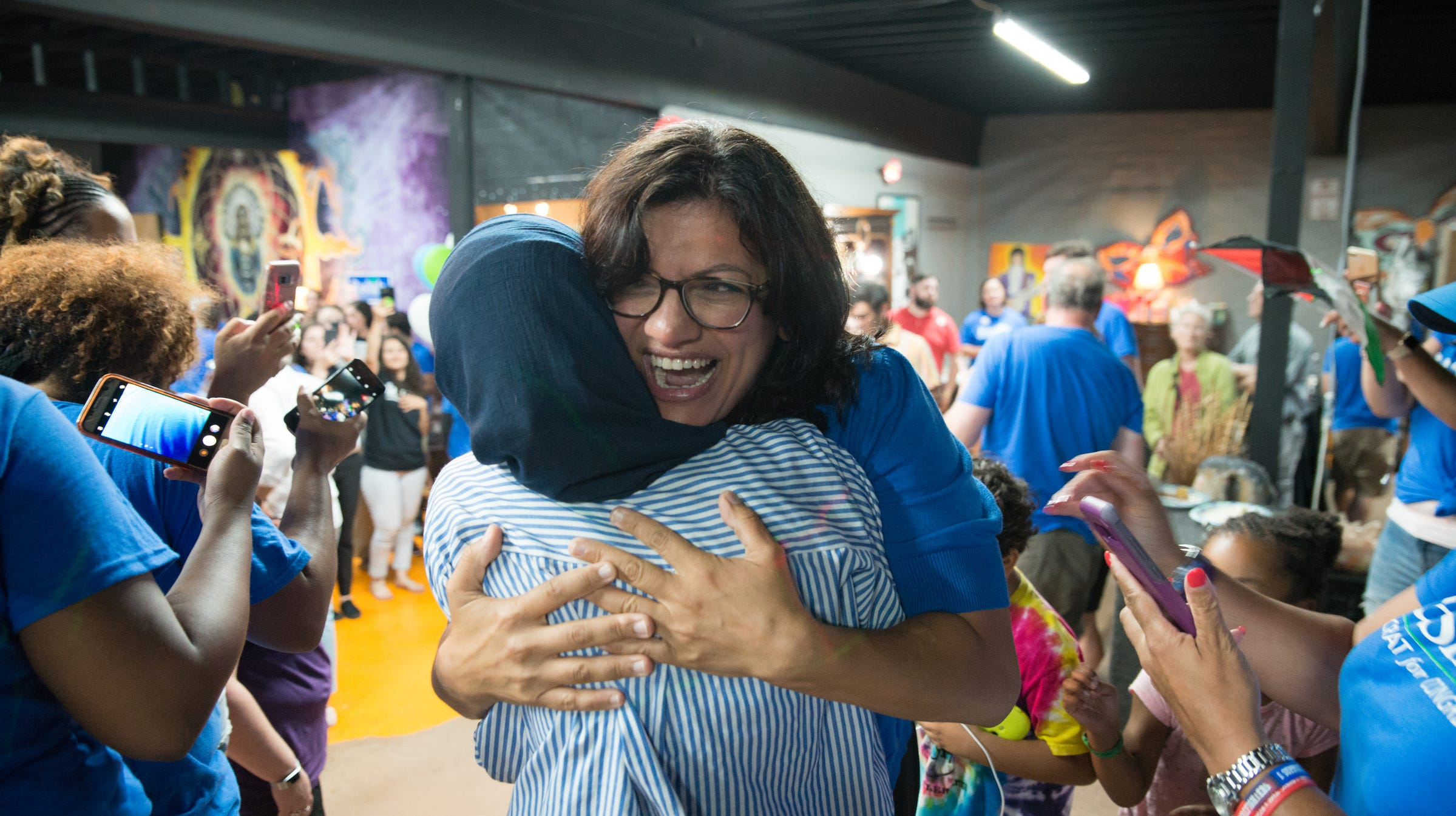 Rashida Tlaib greets supporters and family at her...