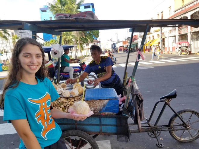 Elena Rollinger of Clinton Township took the D to the Plaza de Armas in Iquitos, Peru, in August 2017. She was photographed by her mother, Dr. Kathy Rollinger. Both women were volunteers with the MSU College of Osteopathic Medicine Global Outreach Program: Peru. Medical students and physicians working with the program provided health care services to more than 2,100 Peruvians. Kathy  Rollinger will be returning to Peru with the program this month.