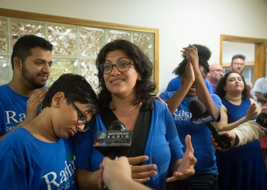 Rashida Tlaib speaks to staff, supporters and the press after the Associated Press called Tlaib's race in her favor at one of Tlaib's field offices in Northwest Detroit on Aug. 7, 2018.