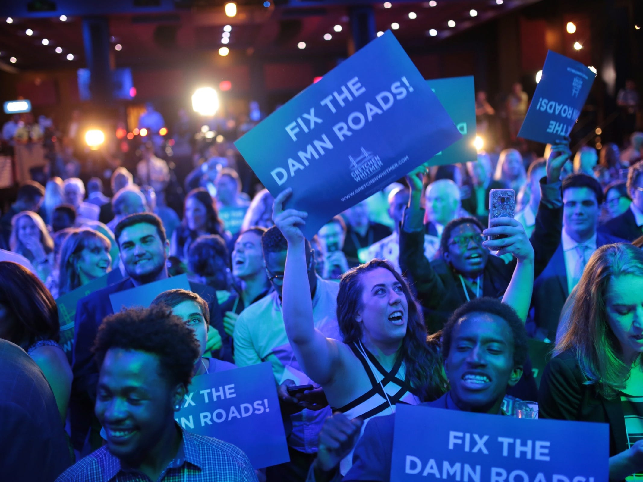 Supporters cheer on democratic gubernatorial candidate Gretchen Whitmer after winning during Michigan's primary race on Tuesday, August 7, 2018 at the election night party at the MotorCity Casino in Detroit.