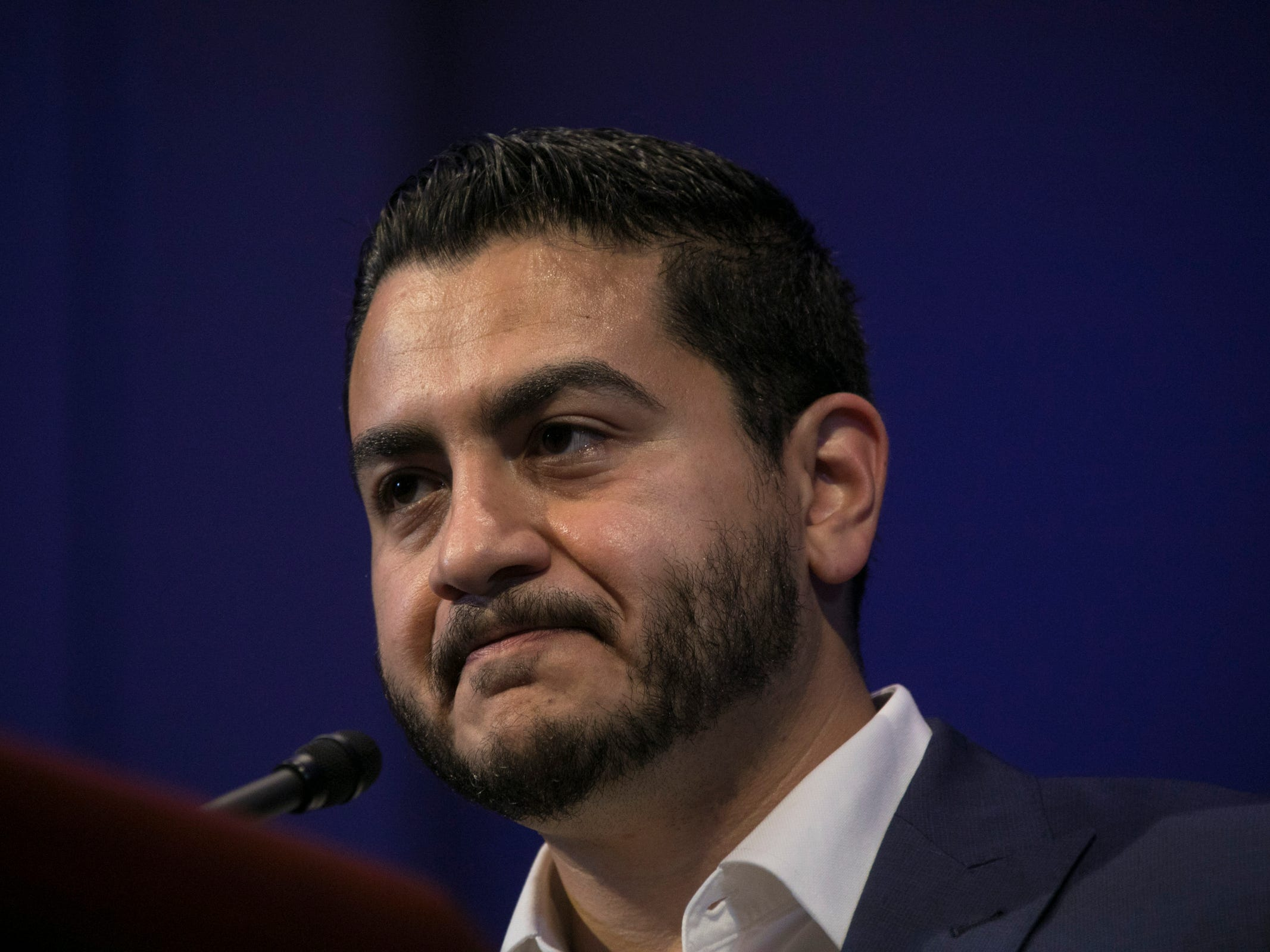 Democratic gubernatorial candidate Abdul El-Sayed delivers his concession speech to his supporters at the Grand Riverview Ballroom at Cobo Center in Detroit Tuesday, August 7, 2018.