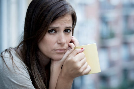 Sad Beautiful Woman Suffering Depression Worried Wasted On Home Balcony