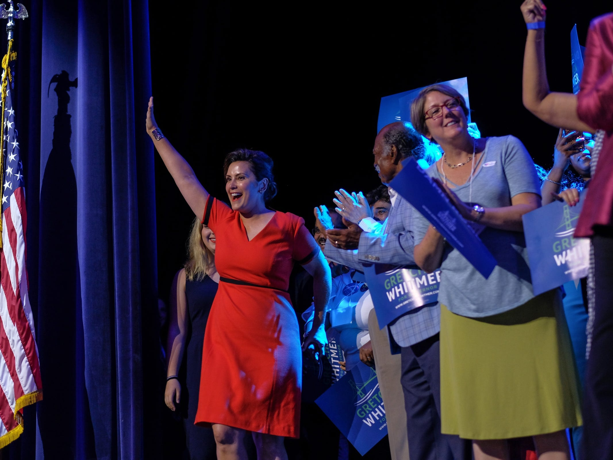 Democratic gubernatorial candidate Gretchen Whitmer takes the stage after winning Michigan's primary race on Tuesday, August 7, 2018 during the election night party at the MotorCity Casino in Detroit.