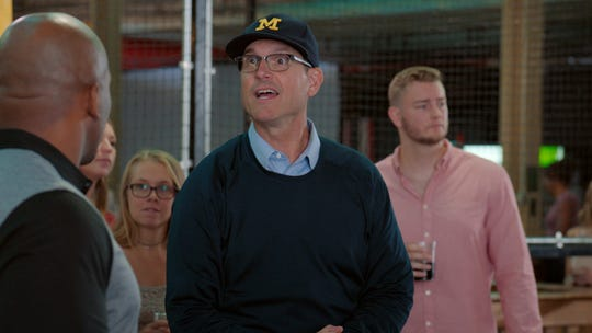 "University of Michigan head football coach Jim Harbaugh has a cameo in Comedy Central's ""Detroiters."""