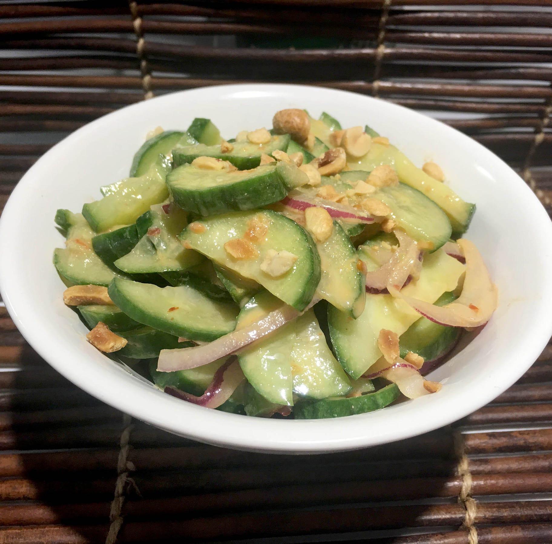 Spicy peanut butter dressing is a good match for cucumbers