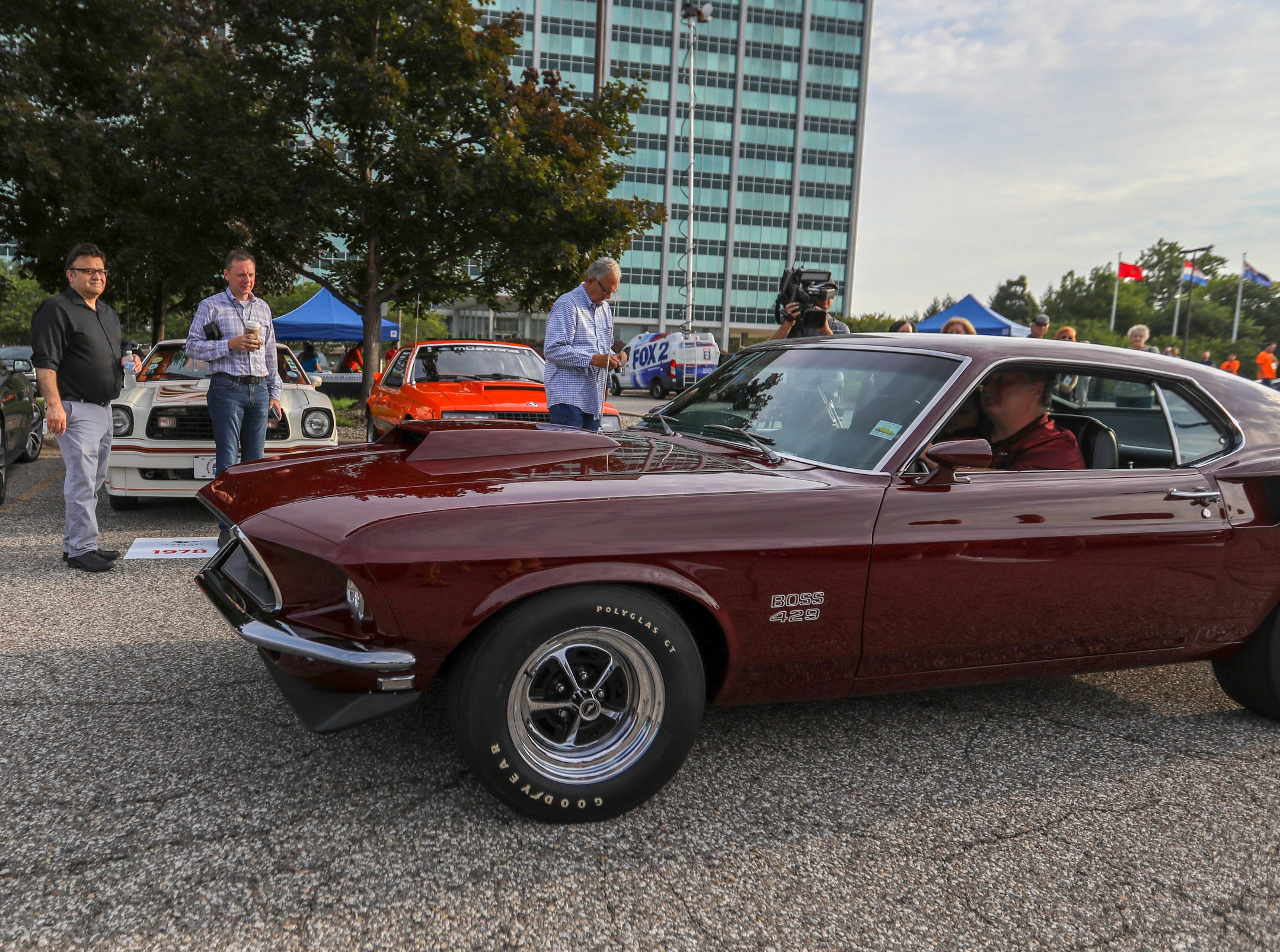 1969 Ford Mustang Boss 429 pulls into the lot during a Ford event celebrating the 10,000,000 Mustang built at the Ford Motor Company World Headquarters in Dearborn on Wed., Aug 8, 2018.