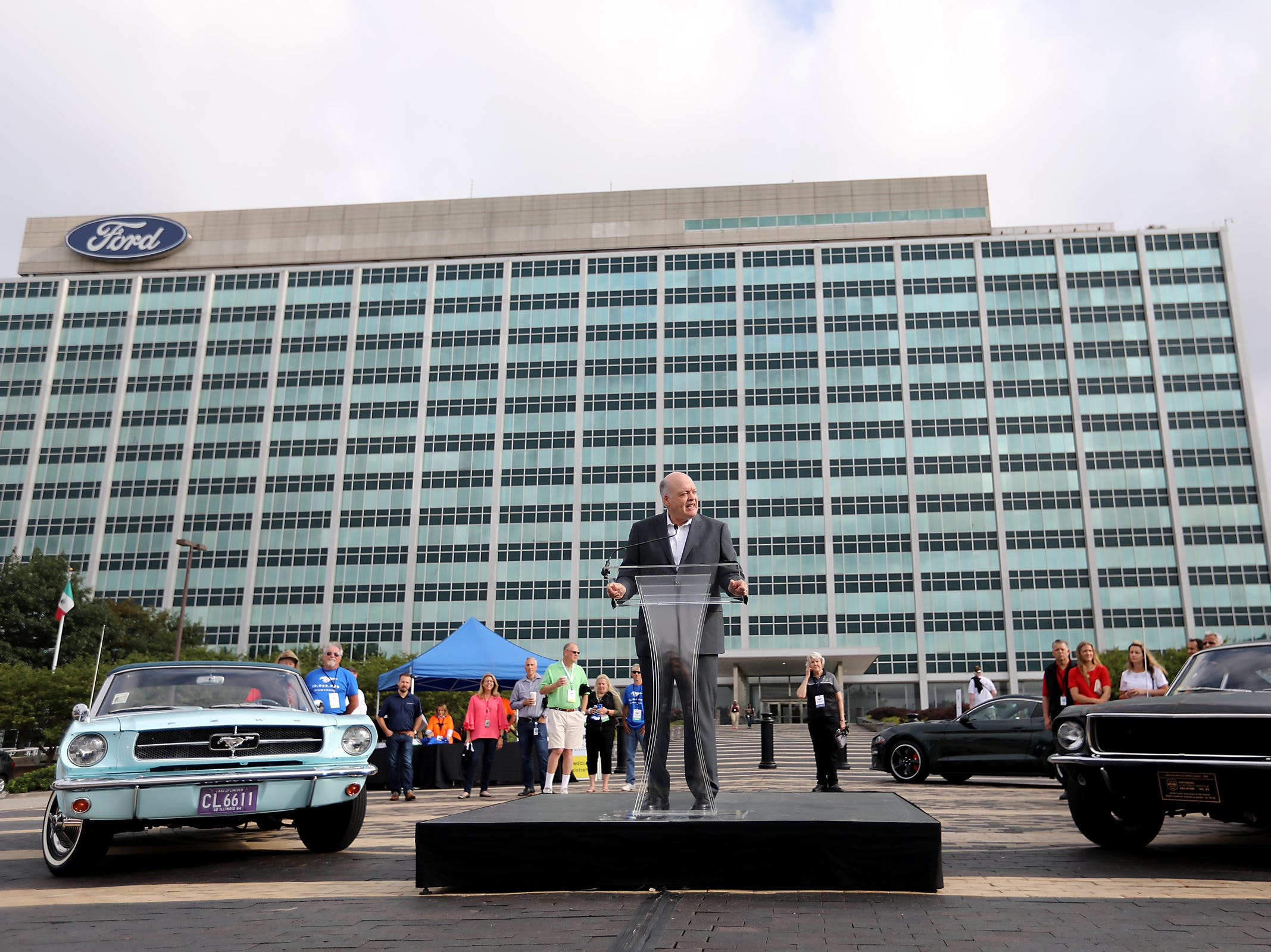 Ford Chief Executive Officer James Hackett speaks, during a Ford event celebrating the 10,000,000 Mustang built at the Ford Motor Company World Headquarters in Dearborn on Wed., Aug 8, 2018.