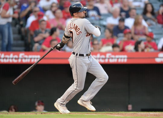 Tigers right fielder Nicholas Castellanos hits a single in the first inning on Tuesday, Aug. 7, 2018, in Anaheim, Calif.