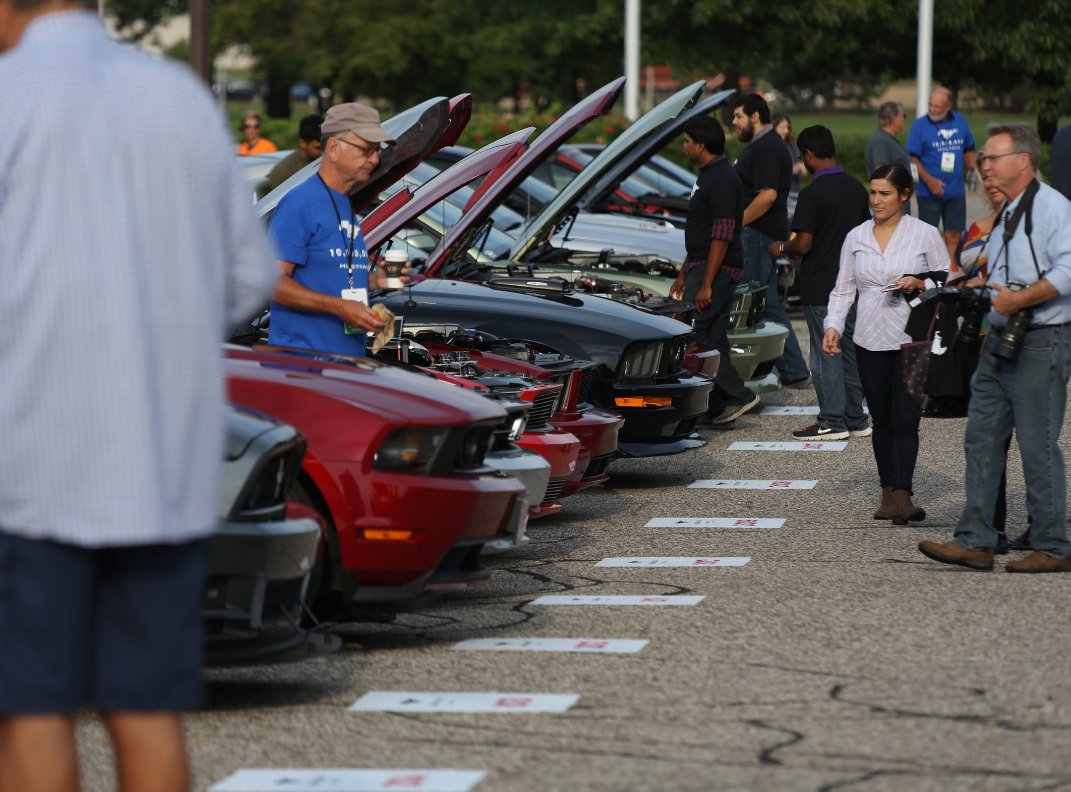 Mustangs are lined up during a Ford event celebrating the 10,000,000 Mustang built at the Ford Motor Company World Headquarters in Dearborn on Wed., Aug 8, 2018.