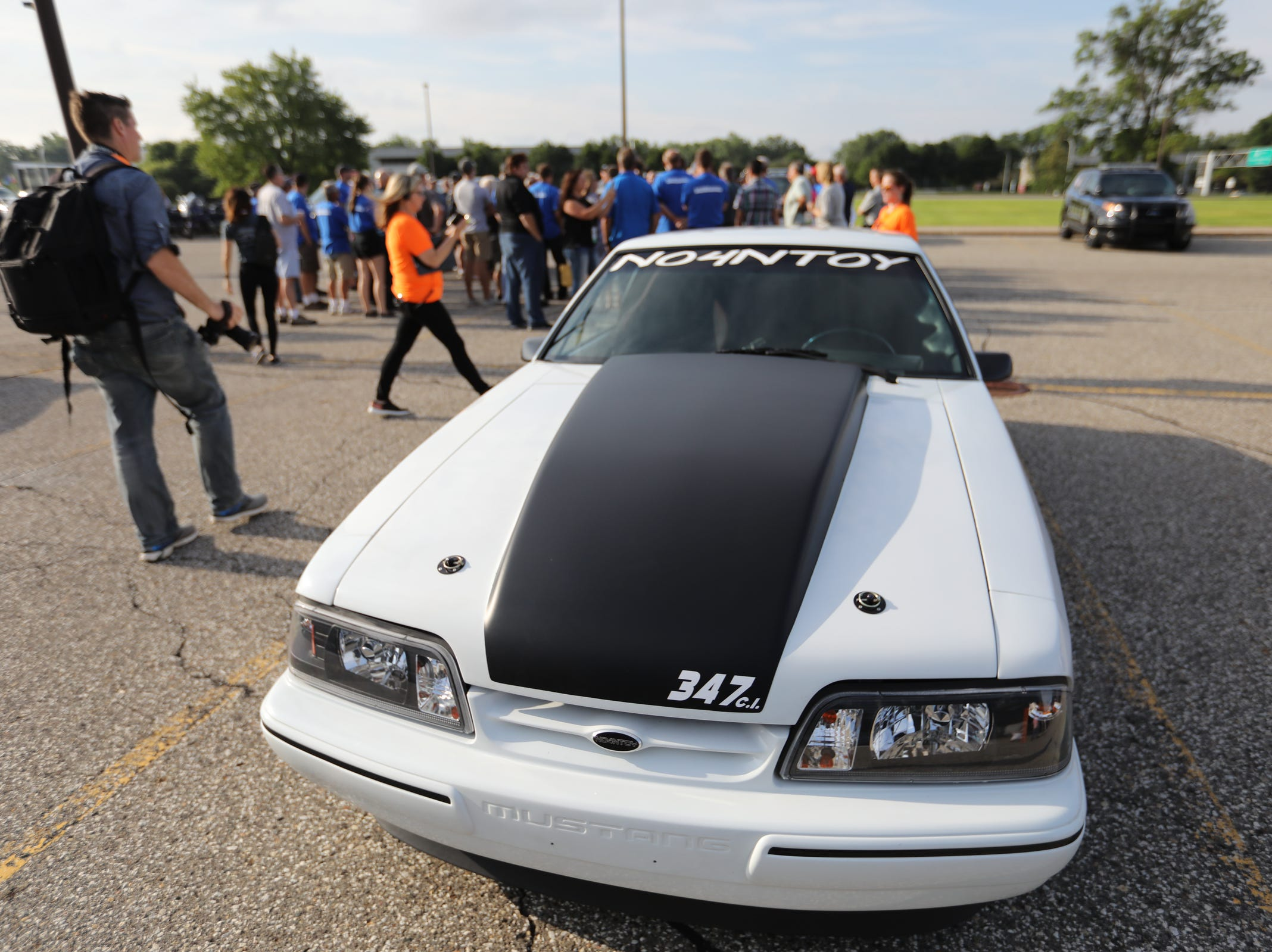 Mark Ashbugh, 38, of Marine City says his 1991 Ford Mustang LX Coupe has a 347 Stroker engine, but doesn't race it, seen during a Ford event celebrating the 10,000,000 Mustang built at the Ford Motor Company World Headquarters in Dearborn on Wed., Aug 8, 2018.