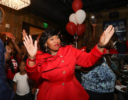 Brenda Jones, 13th Congressional district candidate, talks with supporters at her party  on Tuesday, August 7, 2018, at the Westin Book Cadillac in Detroit.