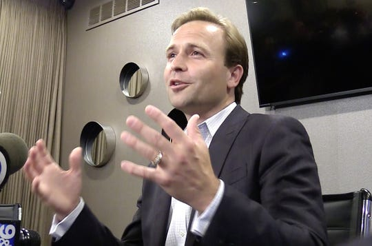 Lt. Gov. Brian Calley speaks to the media at his election night press conference in West Bloomfield, Michigan on August 7, 2018.