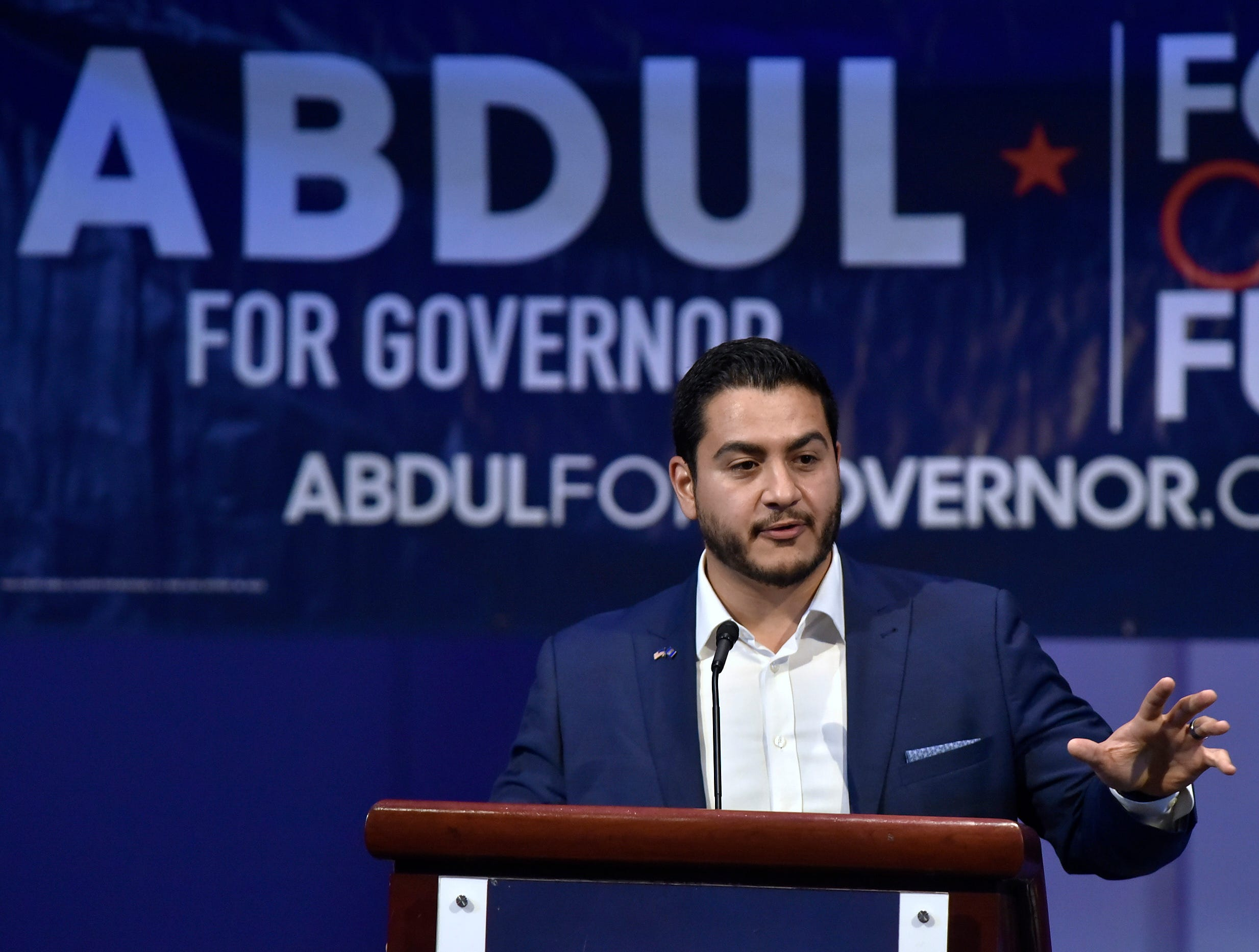 Democratic gubernatorial hopeful and former Detroit health director Dr. Abdul El-Sayed addresses his supporters at Cobo Center after the voting polls close, Tuesday night, August 7, 2018.