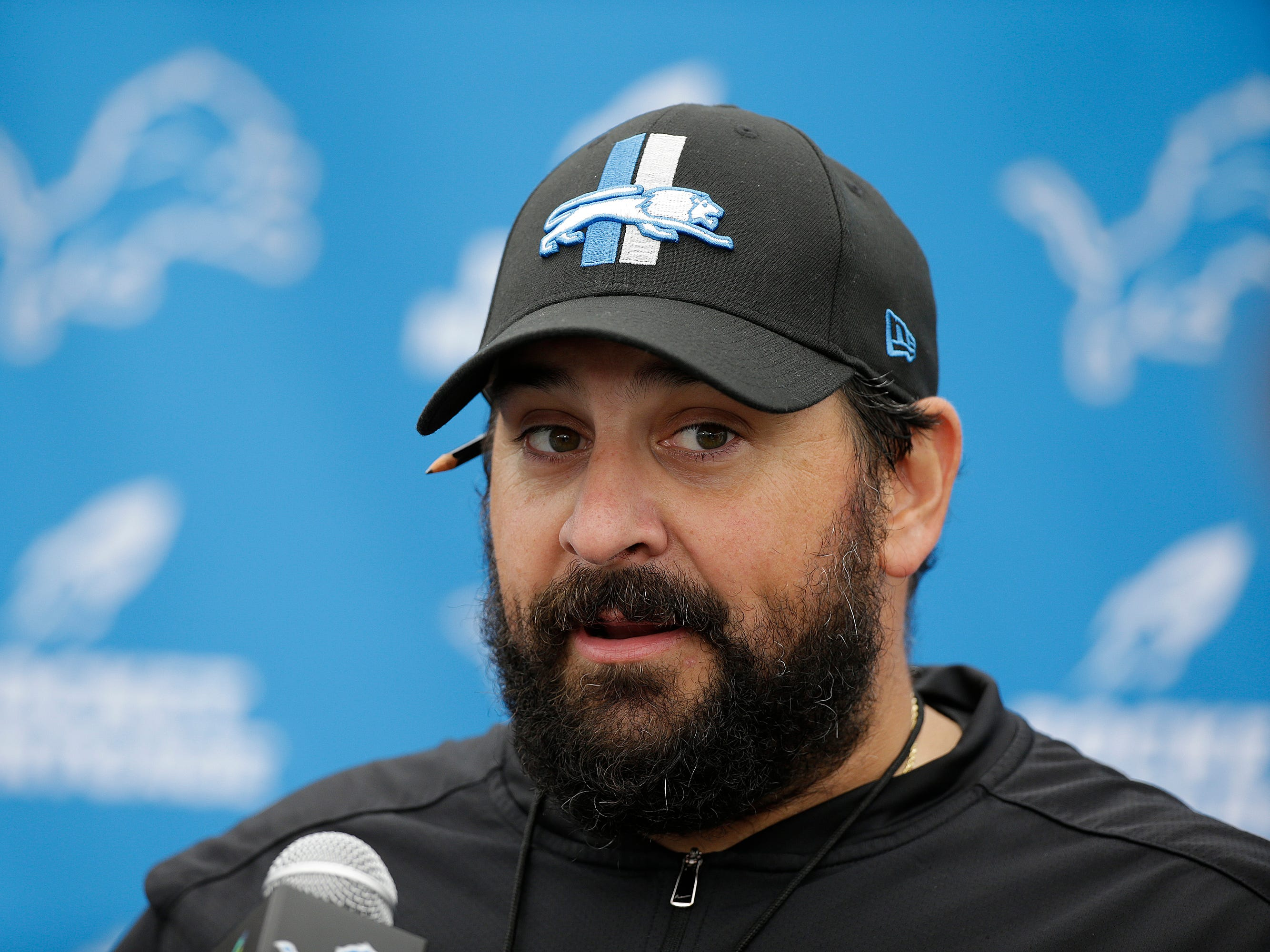 Detroit Lions head coach Matt Patricia talks with reporters before Wednesday's practice.