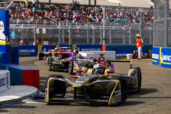 Andre Lotterer of Belgium drives to the lead for the Techeetah Formula E Team in a Renault Z.E. 17 during the New York City ePrix, a stop in the 2017/18 FIA Formula E Series on July 14 in Brooklyn, New York. Formula E is the world's premier battery-powered racing series.