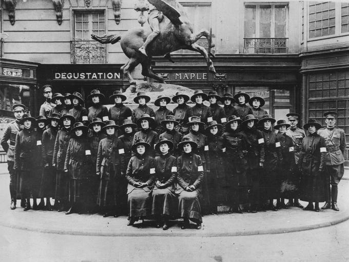 """An Army Signal Corps unit of 33 telephone operators who would come to be known as the """"Hello Girls"""" arrive in France in 1918 during World War I.  All could speak French  and English."""