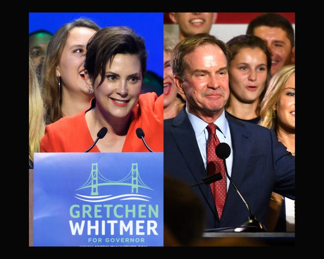 Michigan gubernatorial candidates, Democrat Gretchen Whitmer and Republican Bill Schuette deliver primary election victory speeches Tuesday night, August 7, 2018.