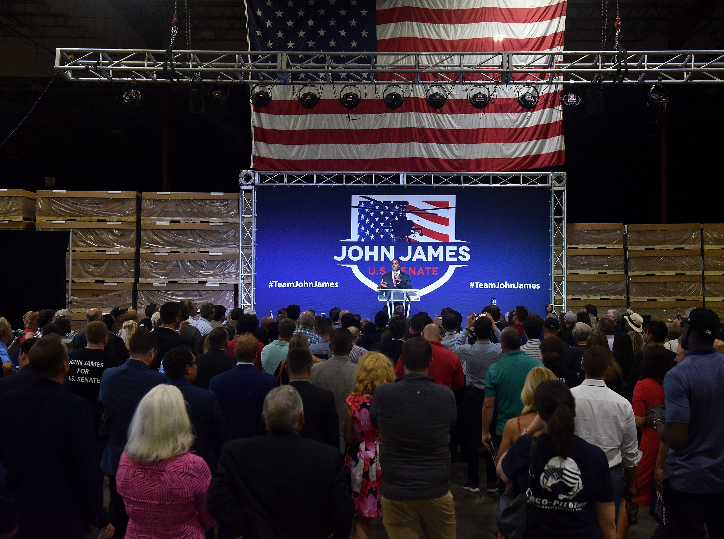John James speaks the election night party .