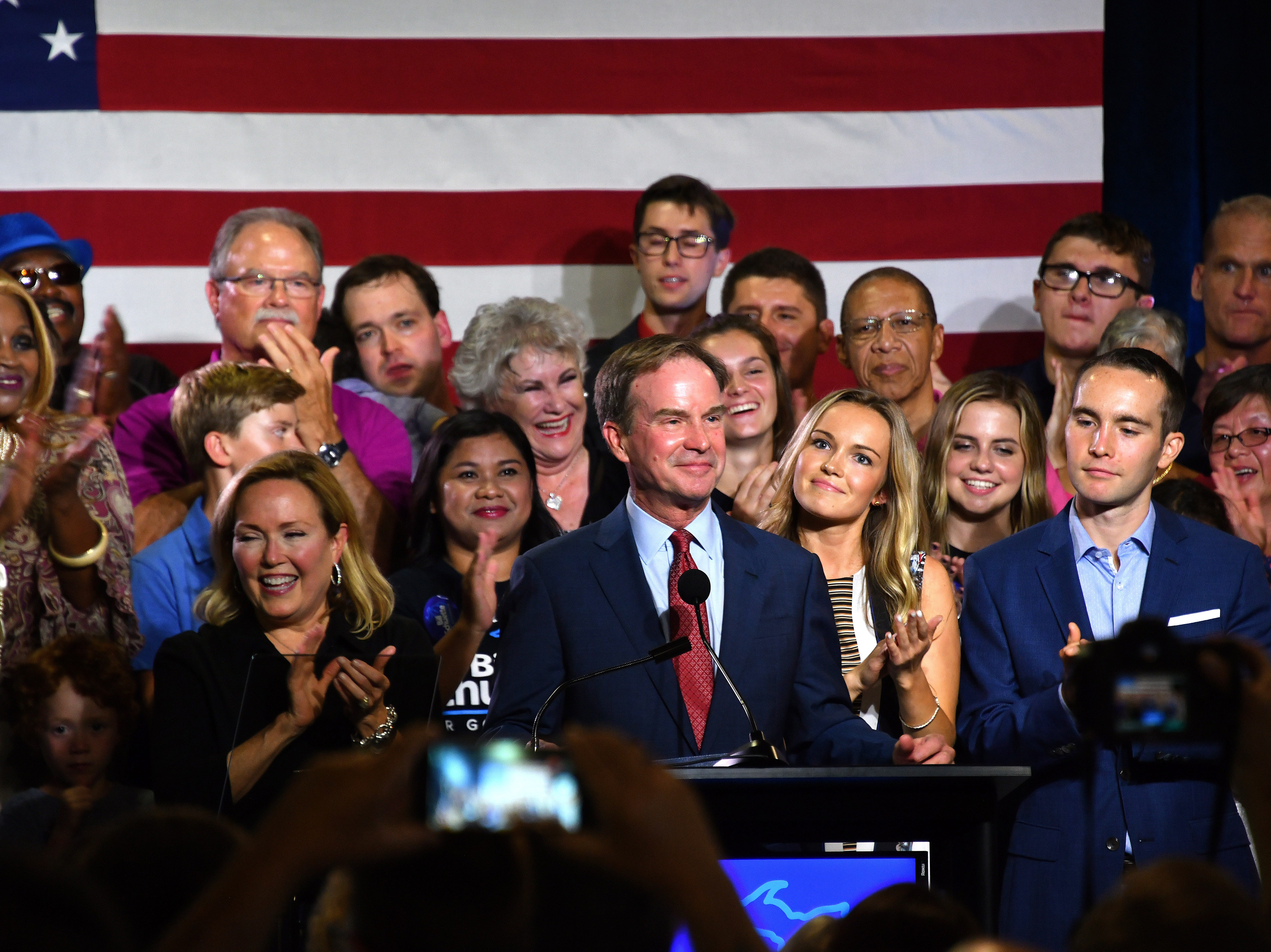 Michigan Attorney General Bill Schuette and his family greet supporters and announce he has won the Republican party's candidacy for Michigan governor.