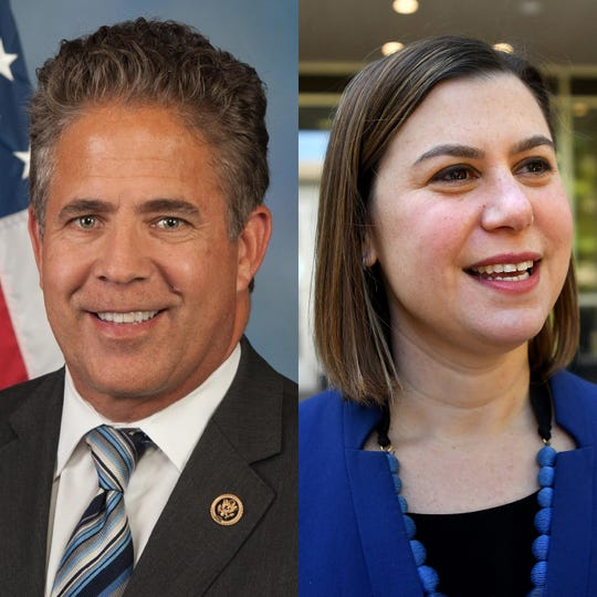 U.S. Rep. Mike Bishop, R-Brighton, and Elissa Slotkin, D-Holly